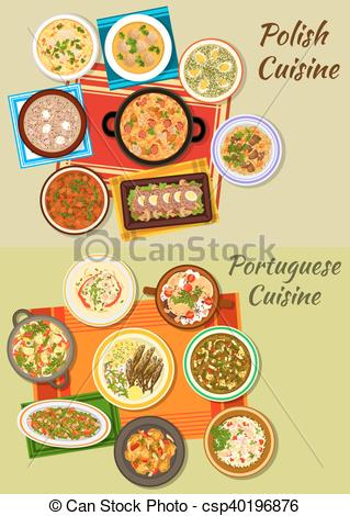 Vectors Illustration of Portuguese and polish cuisine icon for.