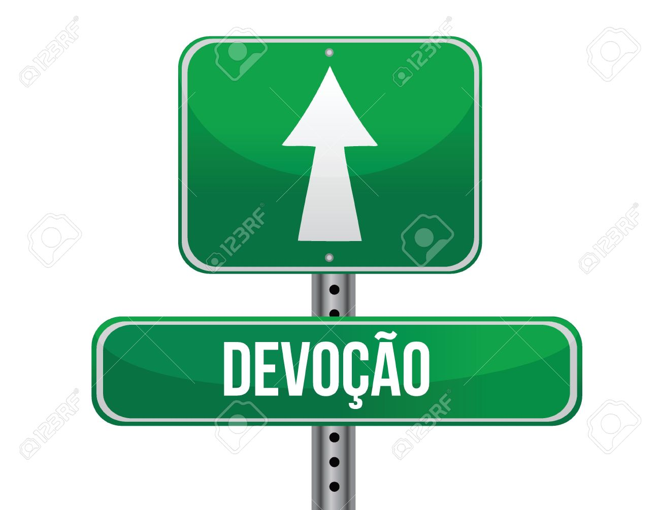 Devotion In Portuguese Traffic Road Sign Illustration Design.
