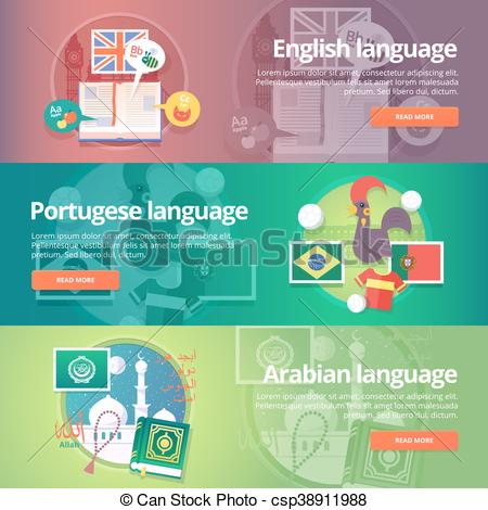 Vector of Foreign languages learning banner set. Design.