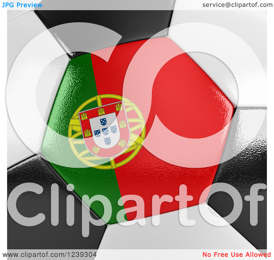 Clipart of a 3d Close up of a Portuguese Flag on a Soccer Ball.