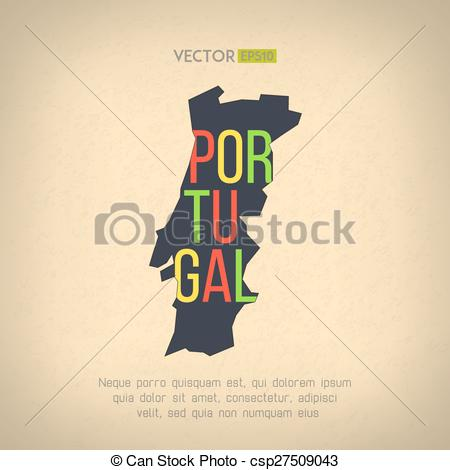 EPS Vector of Vector portugal map in vintage design. Portuguese.