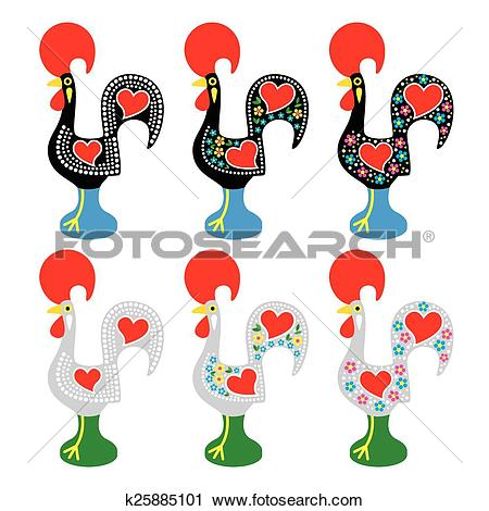 Clipart of Portuguese Rooster of Barcelos k25885101.