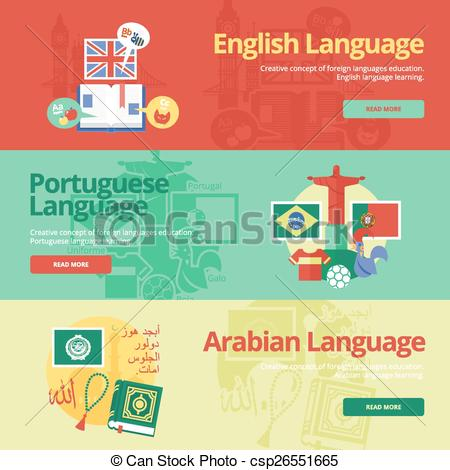 Clip Art Vector of Flat design banners for english, portuguese.
