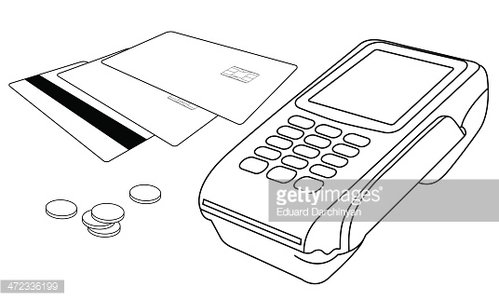 Outlines of POS terminal, credit cards and few coins Clipart.