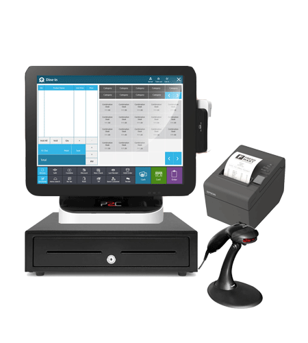 Retail pos system with pos machine, cash drawer, receipt printer and  barcode scanner.