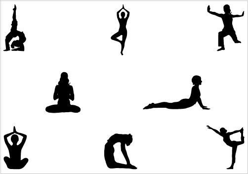Yoga poses clipart.