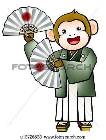Stock Illustration of pose, anthropomorphic, folding fan, holding.