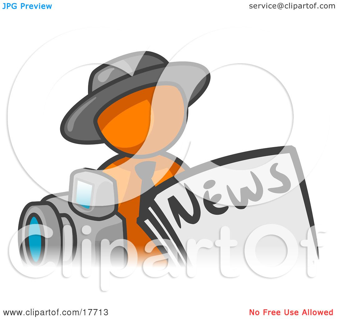 Clipart Illustration of an Orange Man Wearing A Hat, Posed In.