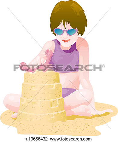Clip Art of posed, seaside, pose, swimsuit, swimwear, summer.
