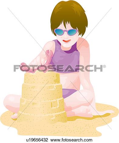Clip Art of posed, seaside, pose, swimsuit, swimwear, summer.