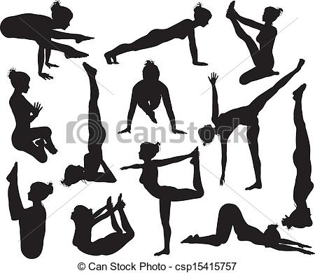Clipart Vector of Yoga poses silhouettes.