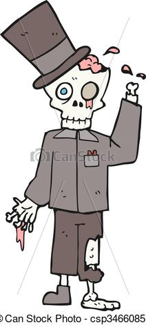 Clipart Vector of cartoon posh zombie.