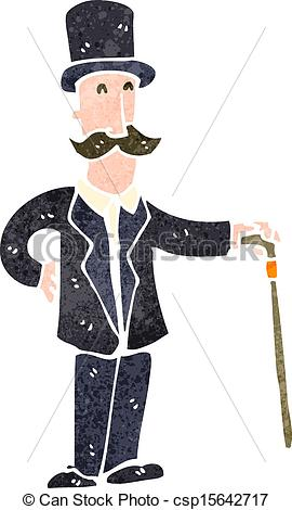 Vector Clip Art of retro cartoon victorian man.