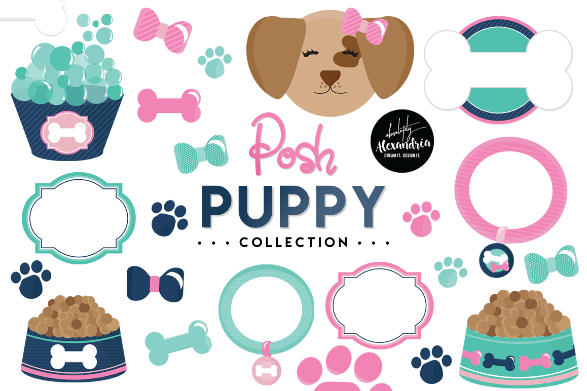 Posh Puppy Clipart Graphics & Digital Paper Patterns Bundle.