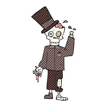 Comic Book Style Cartoon Posh Zombie premium clipart.