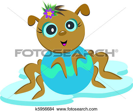 Clipart of Baby Spider Posing k5956684.