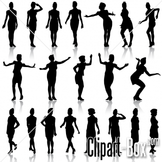 CLIPART GIRL DANCING AND POSING.