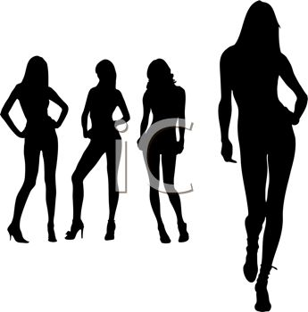 Sexy Woman Silhouettes of Models Posing.