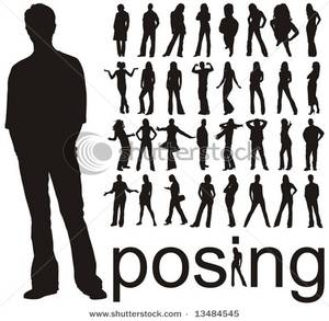 Art Image: Silhouettes of People Posing.