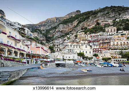 Stock Photo of Positano at dusk x13996614.