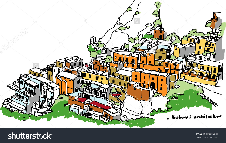 Town Positanoamalfi Italy Vector Drawing Stock Vector 102582581.