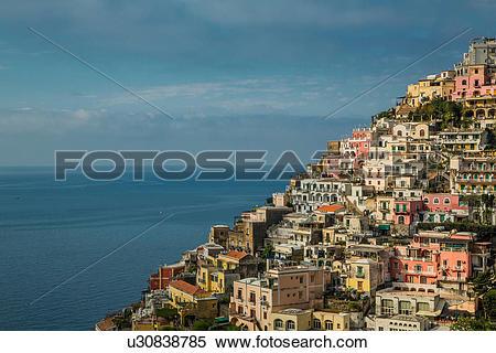 Stock Image of Houses on hillside, Positano, Amalfi Peninsula.