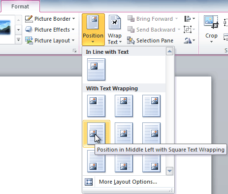 Positioning clipart in word.