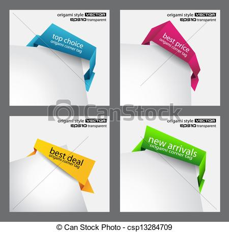 Vector Clipart of Origami style speech bubbles for corner.