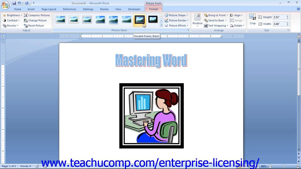 Using clipart in word.