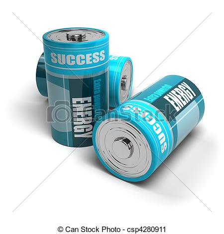 Clipart of battery concept, energy reaching success, positive.