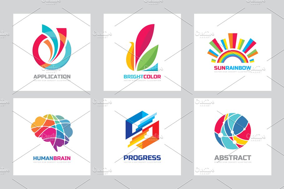 Abstract Positive Vector logo Set.