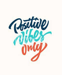 Positive vibes only custom lettering design Clipart Image.
