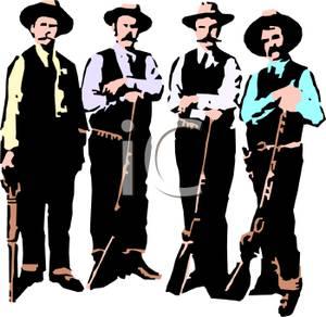 A Cartoon of Four Riflemen.