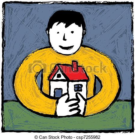 Vector Illustration of Man and home.