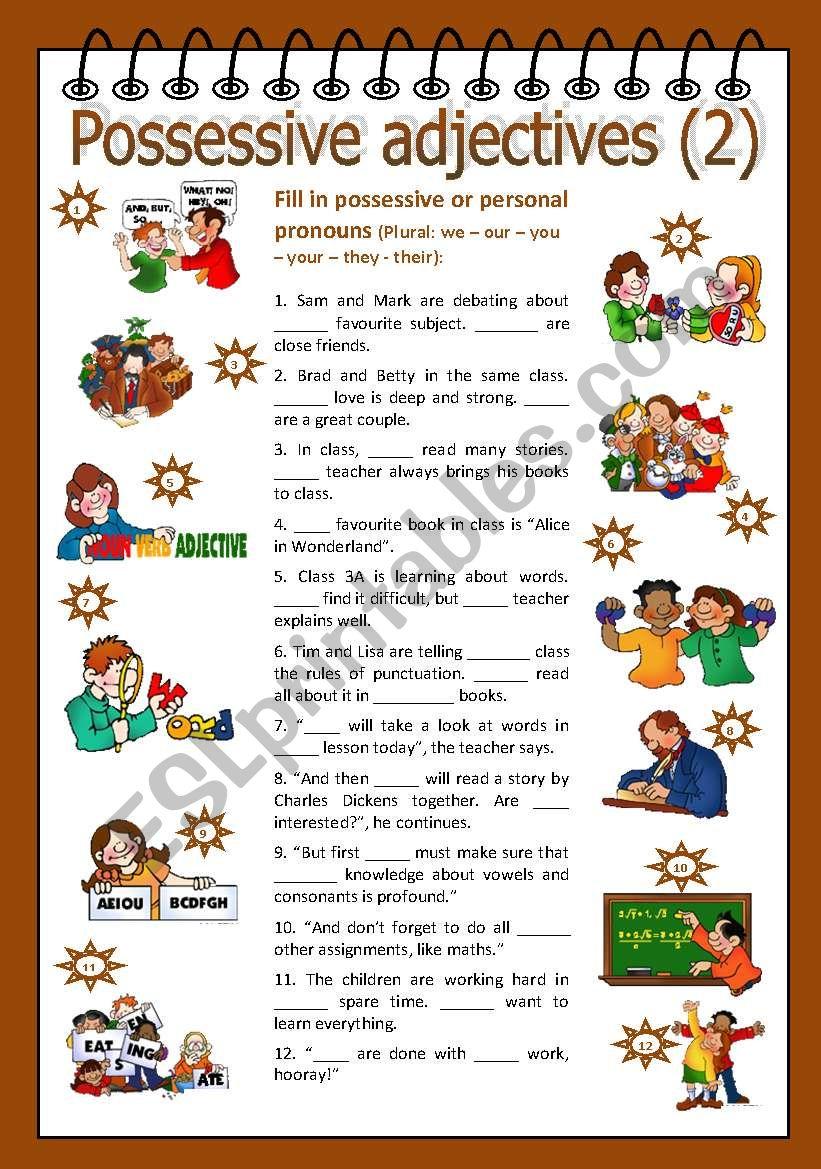 Possessive adjectives 2.