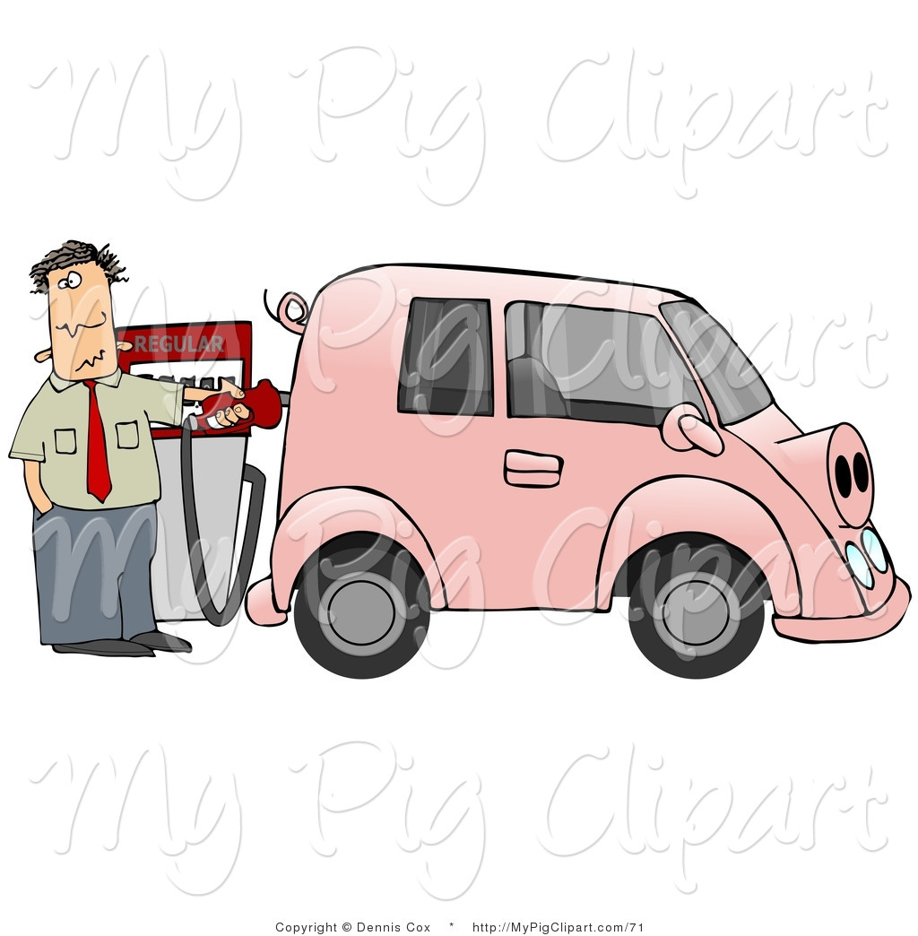 Swine Clipart of a an Anxious Man Filling up His Pink Gas Hog.