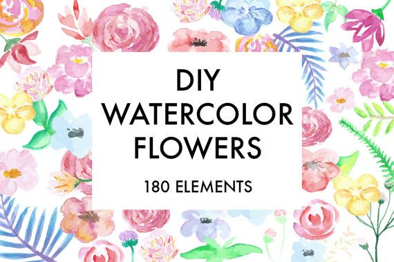 Set of 180 beautiful watercolor FLOWERS cliparts.