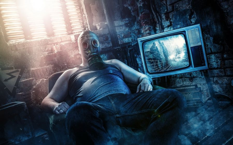 Free Wallpapers: Couch Post Apocalyptic Gas Masks Television.