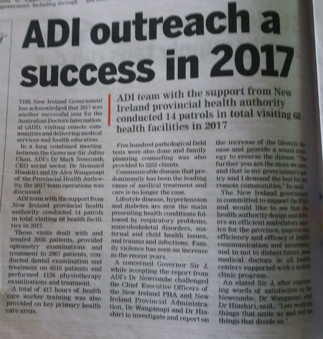 Australian Doctors International ADI in the Media.