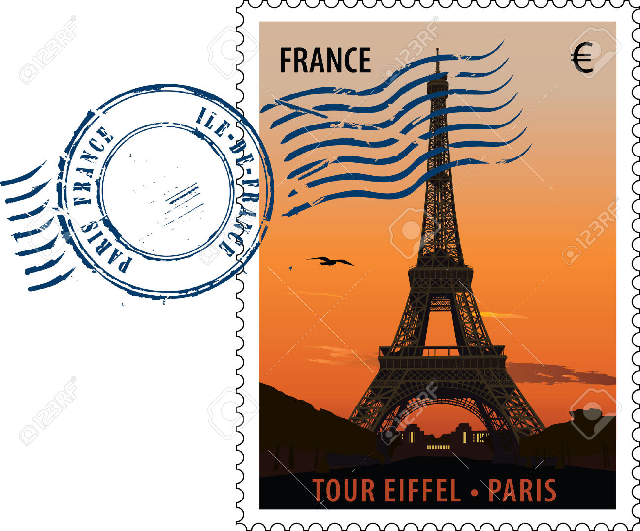 Postmark With Sight Of Eiffel Tower At Sunset Royalty Free.