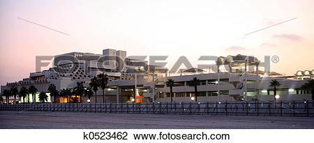 Stock Photo of Doha Post Office at dusk k0523462.