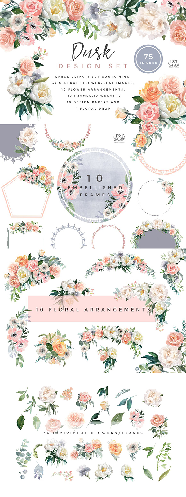 Free Blue Crush Watercolor Floral Elements!.