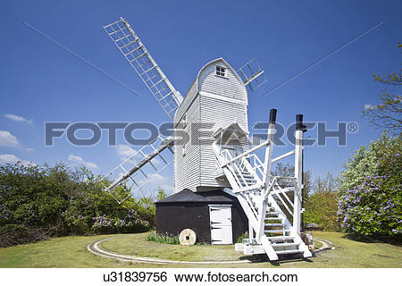 Stock Images of England, Suffolk, Holton. Holton Post Mill, an.