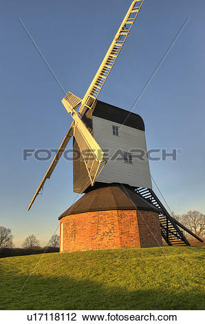 Stock Photo of England, Essex, Mountnessing. Mountnessing Windmill.