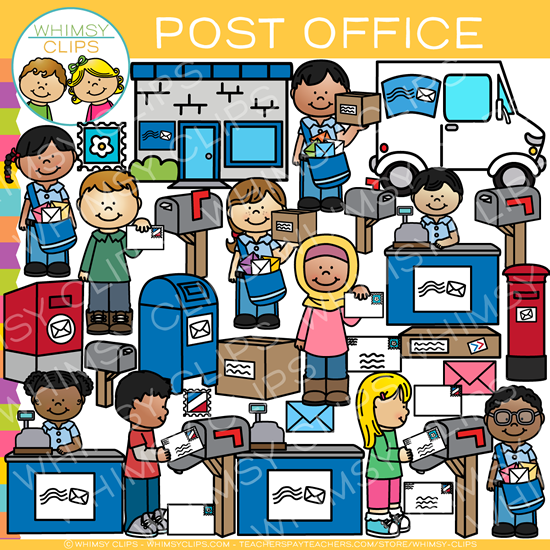 Kids at the Post Office Clip Art.