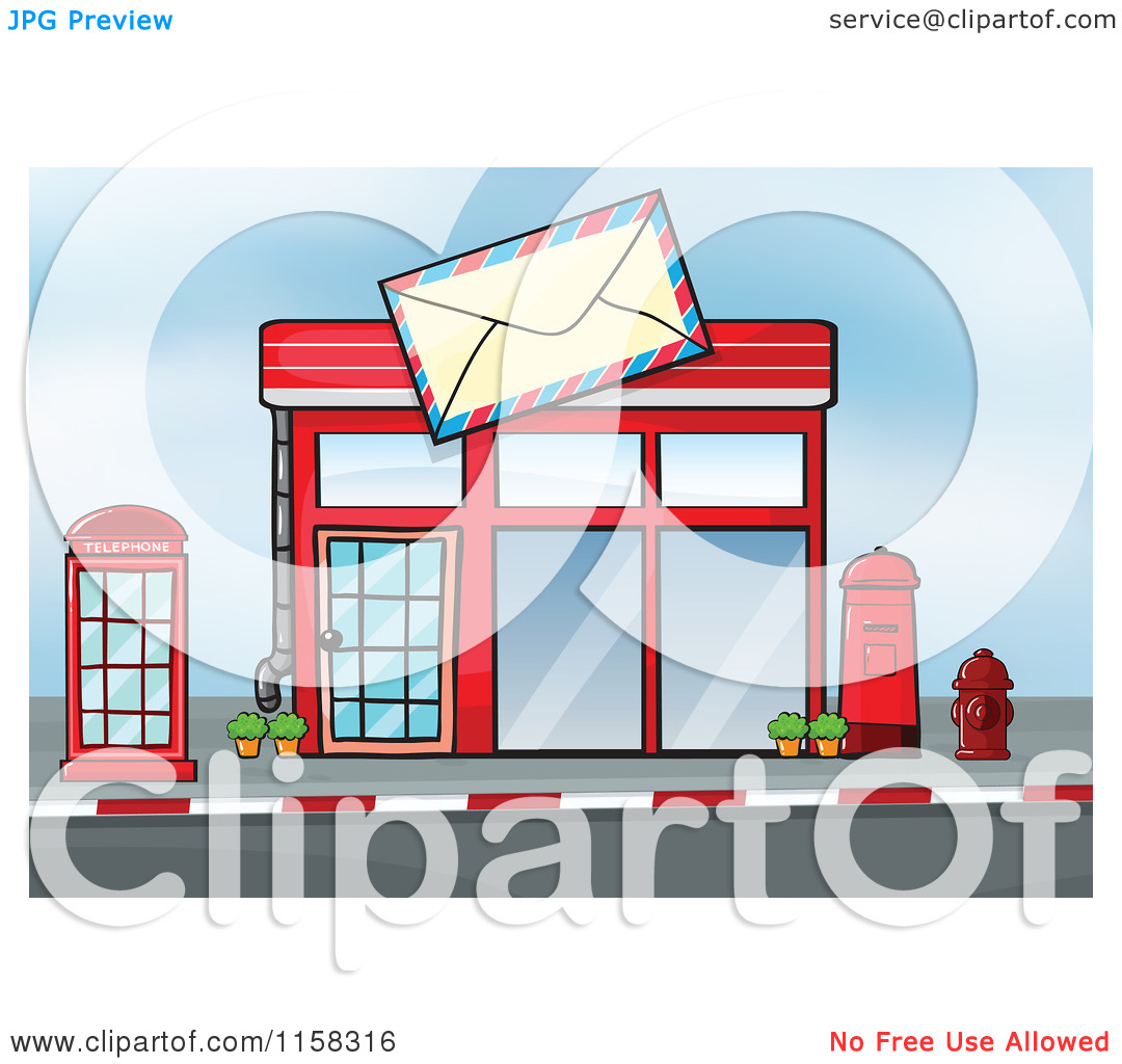 Clipart of a Post Office Building Facade 2.