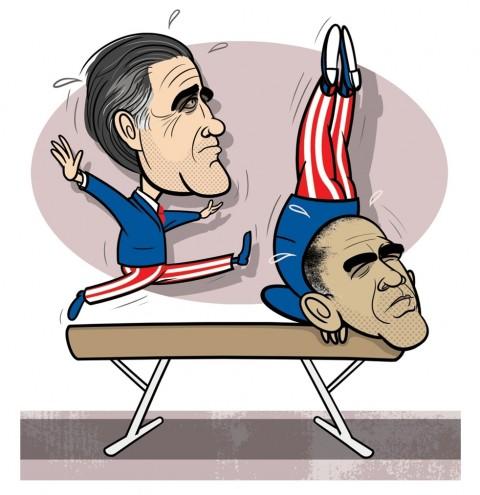 Obama and Romney's political gymnastics.