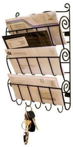 East of India Wooden Vintage Cream Post Rack Stand Organiser Desk.