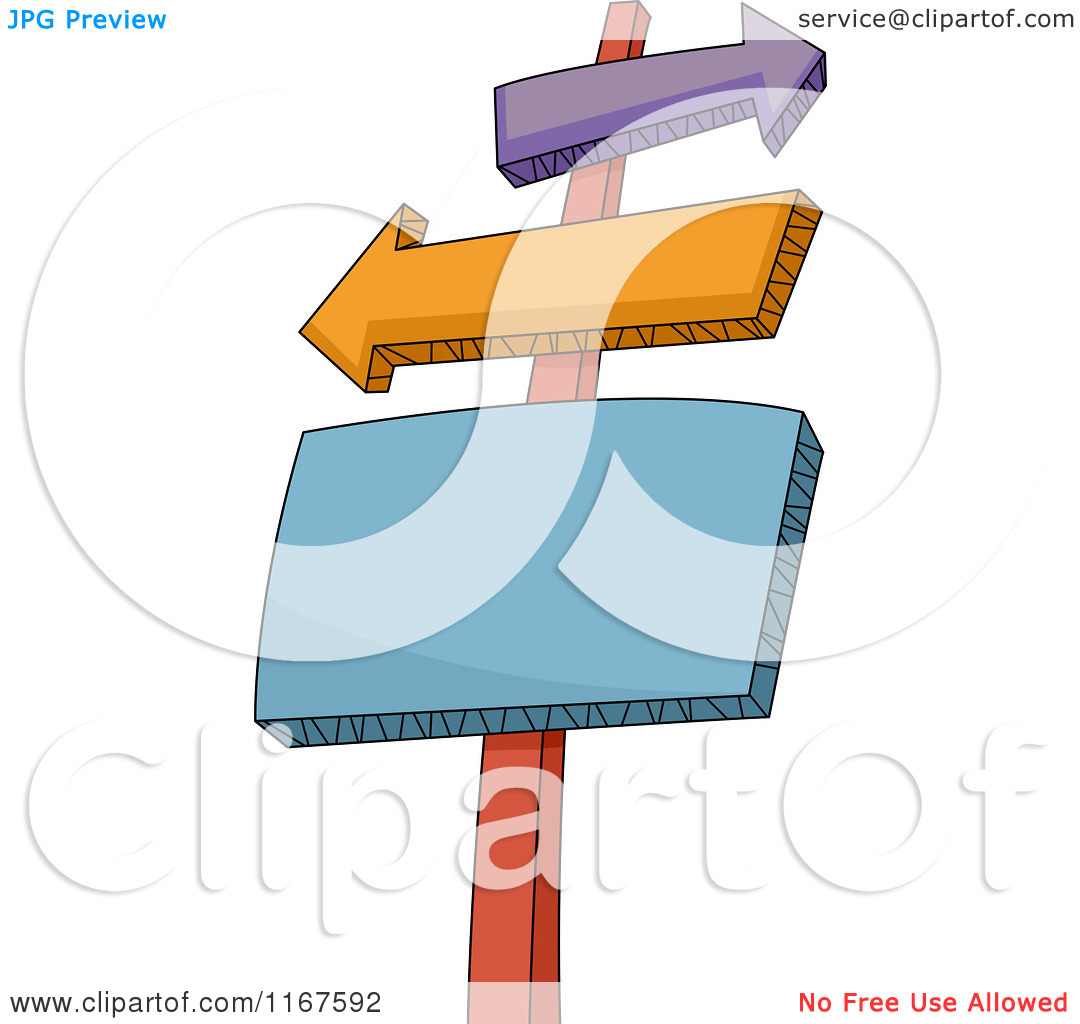 Cartoon of a Sign Post with Arrow and Rectangle Signs.
