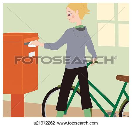 Clip Art of Woman Who Drops a Letter into a Post Box, Illustrative.